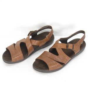 MEPHISTO BROWN TEXTURED LEATHER STRAPY SANDALS 41
